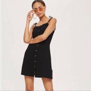 Topshop Black Ribbed Button Front Dress Tie Straps